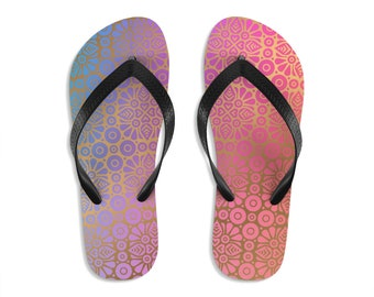 Unisex Flipflops, Mandala Damask Print Sandals, Soft Summer Beach Flip Flops, Beach Shoes, Boho Hippie Flip Flop Shoes, Bohemian Footwear