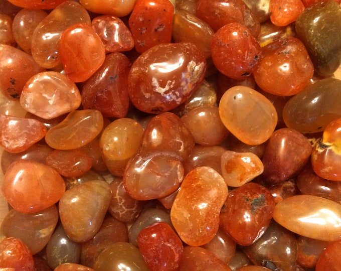 Bulk 1lb LARGE Tumbled Carnelian Gemstones, One Inch Wholesale Carnelian Agate Tumbled Stones, Polished Orange Red Carnelian Gemstones