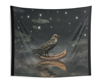 Raven Celestial Wall Tapestry, Custom Large Wall Hanging, Raven Bird Tapestry, Boho Bohemian Stars Night Tapestry, Custom Fabric Tapestry