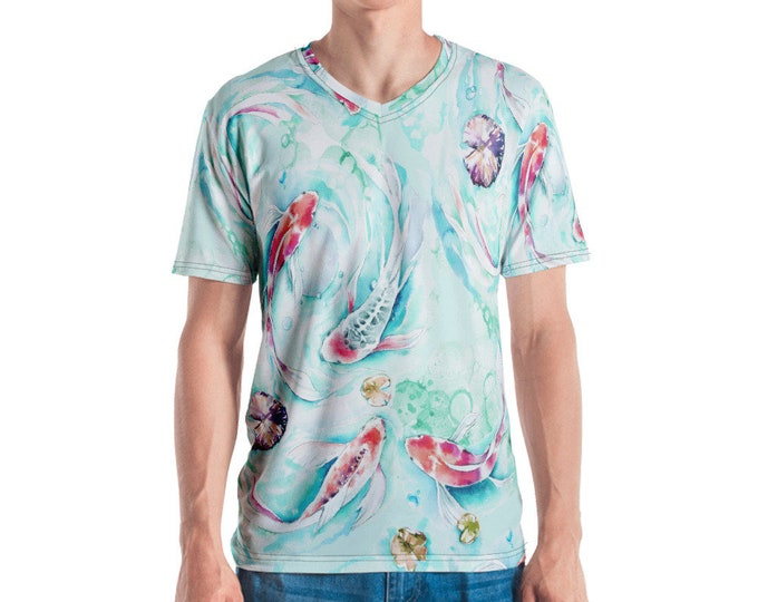 Mens V Neck Tee, All Over Print Shirt, Mens Boho Hippie Print Shirt, Japanese Koi Fish V Neck Tee, Bohemian Shirt, S-3XL Beach Summer Tee