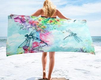 Large Beach Towel, 30 x 60 Inch Towel, Bath Towel, Dragonfly Dragonflies Towel, Custom Print Towel, Insect Designer Towel, Premium Towel
