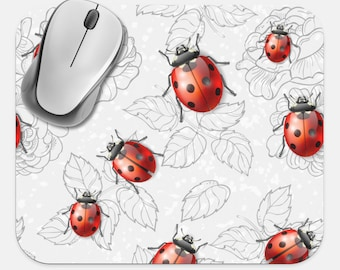 Ladybugs Mouse Pad, Ladybug Mouse Pad, Computer Accessories, Tech Desk Supplies, Boho Bohemian Hippie Mouse Pad, Neoprene Non Slip Mouse Pad