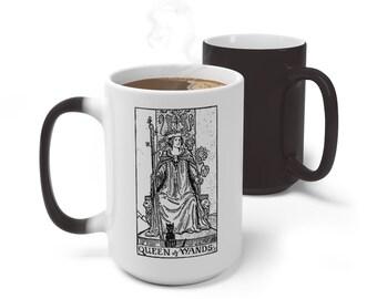 Tarot Card Color Changing Mug, Queen of Wands Tarot Mug, 11oz 15oz Mug, Custom Occult Divination Spiritual Mug, Color Change Ceramic Mug