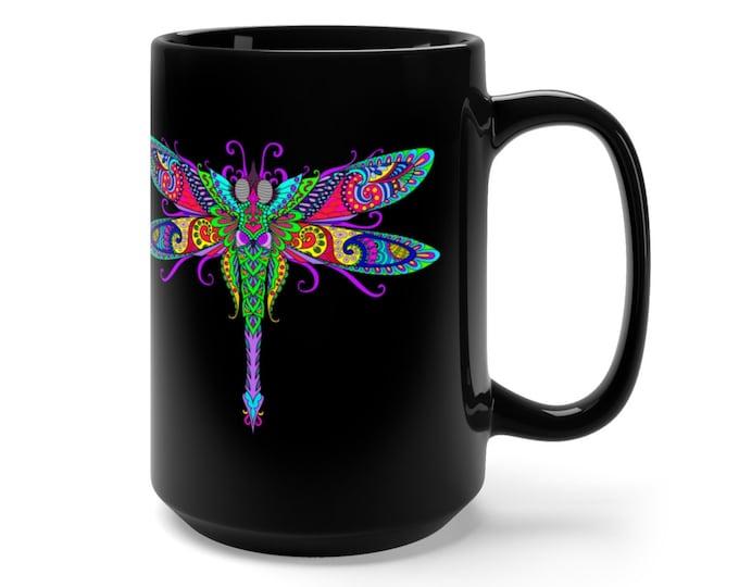 15oz Black Ceramic Mug, Boho Bohemian Dragonfly Novelty Mug, Novelty Drink Mug, Hippie Animal Coffee Mug, Boho Ceramic Mug, Gift For Her Him