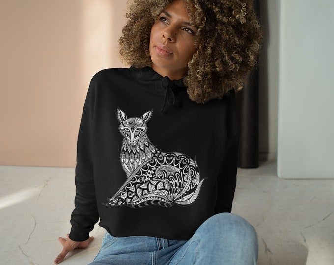 Womens Crop Fleece Hoodie, TribalFox Animal Boho Bohemian Crop Top Hoodie, XS-L Size, Crop Sweatshirt, Womens Sweatshirt Crop Pullover