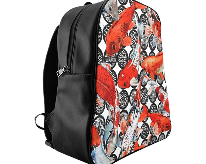 Vegan Leather Laptop Backpack, PU Leather Japanese Koi Fish Asian Art Print Bag, Three Sizes School Backpack, Travel Carry On Luggage Bag