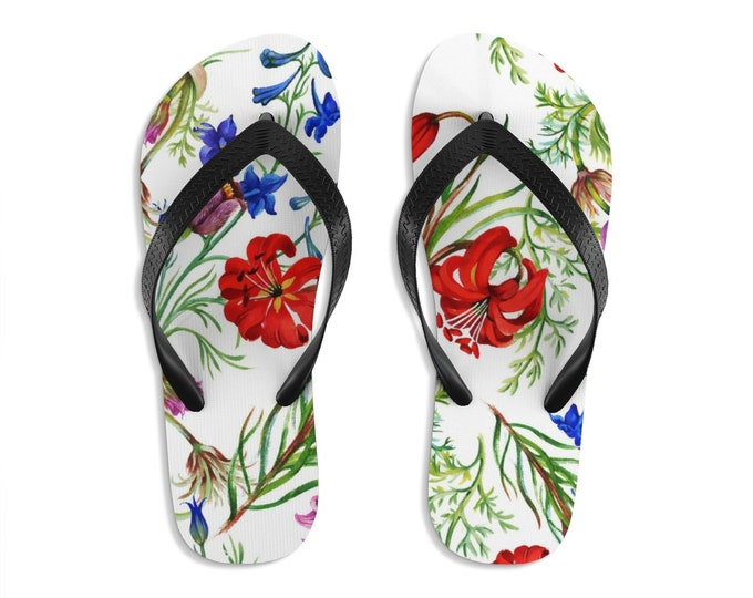 Unisex Flipflops, Floral Flowers Print Sandals, Wildflowers Summer Beach Flip Flops, Beach Shoes, Boho Flip Flop Shoes Footwear Accessories