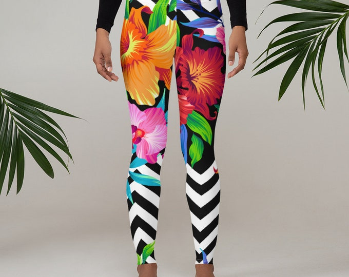 Womens Leggings, Boho Flowers Floral Leggings, Exercise Yoga Pants, Chevron Bohemian Leggings XS S M L XL Size, Workout Sports Wear Pants