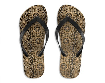 Unisex Flipflops, Mandala Damask Print Sandals, Soft Summer Beach Flip Flops, Beach Shoes, Boho Hippie Flip Flop Shoes