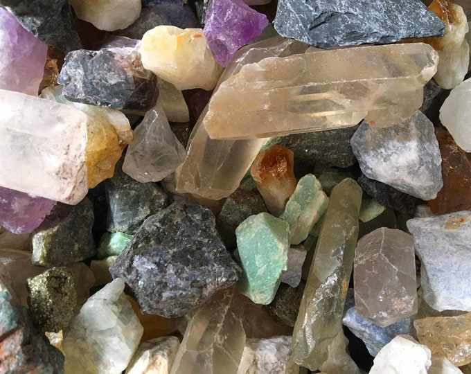 Bulk 1lb MIXED Exotic Rough Crysals Rock Gemstone, Multi Variety Gems Gemstones, Bulk Wholesale Crystals Gems Rocks, Mixed 1 Pound Gemstones