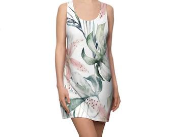 Women's Racerback Dress, Lilly Tropical Floral Print Dress, Womens Tank Dress, All Over Print Racerback Dress Apparel Clothing, Flower Dress