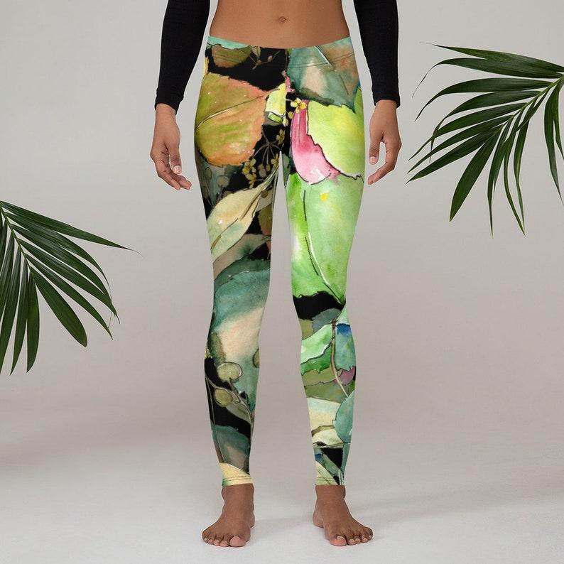 Workout Sports Wear Pants Exercise Yoga Pants Boho Flowers Floral Leggings Womens Leggings Bohemian Wildflower Leggings XS S M L XL Size
