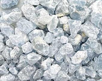 Bulk 1lb Mini 8-15mm Blue Celestite Gemstone Chips, Small Polished Chips, Undrilled Gem Chips, Mini Celestite Gravel Chips Crystal Stones