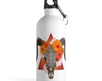 Boho Skull Stainless Steel Water Bottle, Reusable 14oz Steel Water Bottle, Workout Gym Water Bottle, Sports Bottle, Bohemian Hippie Tumbler