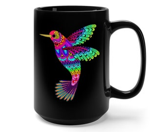 15oz Black Ceramic Mug, Boho Bohemian Hummingbird Novelty Mug, Novelty Drink Mug, Animal Coffee Mug, Boho Black Mug, Gift For Her Him