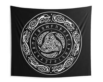Runes Celtic Knot Wall Tapestry, Custom Large Wall Hanging Art, Rune Occult Boho Bohemian Norse Nordic Tapestry, Custom Fabric Tapestry