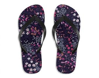 Unisex Flip Flops, Floral Flowers Print Sandals, Wildflowers Summer Beach Flip Flops, Beach Shoes, Boho Flip Flop Shoes Footwear Accessories