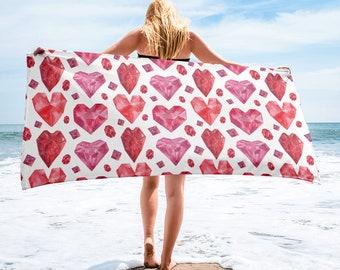 Large Beach Towel, 30 x 60 Inch Towel, Bath Towel, Boho Bohemian Crystals Gems Towel, Custom Print Towel, Heart Gem Designer Premium Towel
