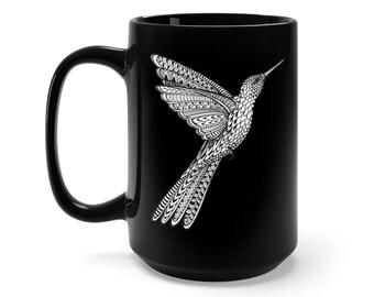 15oz Black Ceramic Mug, Boho Bohemian Hummingbird Novelty Mug, Hippie Novelty Drink Mug, Animal Coffee Mug, Boho Black Mug, Gift For Her Him