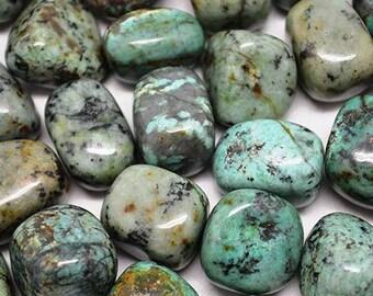 Bulk 1lb Tumbled African Turquoise Gemstones, Bulk Mixed Sizes Turquoise, 1/3 - 1 1/2 in. Turquoise Gemstones, Wholesale Crystals Rocks Gems