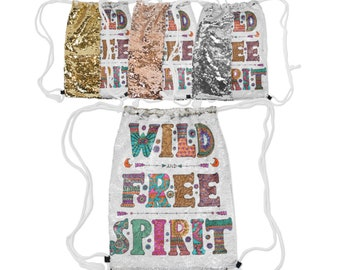 """Sequin Reversible Drawstring Backpack, Boho Bohemian Wild Free Spirit Backpack, 12.5"""" x 16.5""""  Lined Lining Carry Bag, Gold Silver Rose Gold"""