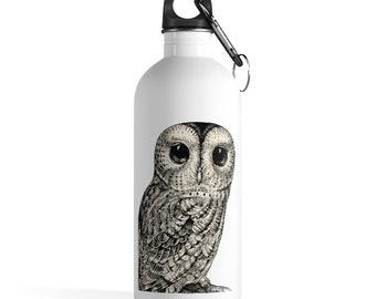Owl Stainless Steel Water Bottle, Reusable 14oz Steel Water Bottle, Workout Gym Quote Water Bottle, Sports Bottle, Animal Totem Water Bottle