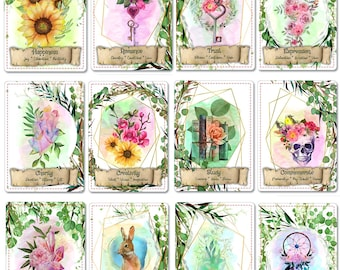 The Whispering Whimsy Oracle Deck, (49 Cards Poker Size Oracle Deck), Handcrafted Custom Watercolor Botanical Inspired Oracle Card Deck
