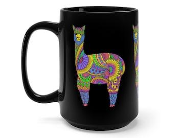 15oz Black Ceramic Mug, Boho Bohemian Llama Novelty Mug, Hippie Novelty Drink Mug, Animal Coffee Mug, Boho Black Mug, Gift For Her Him