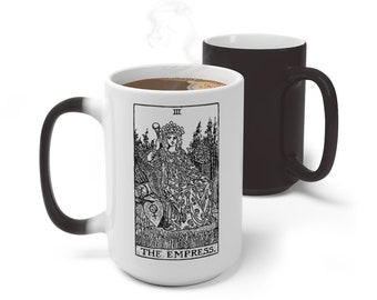 Tarot Card Color Changing Mug, The Empress Tarot Card Mug, 11oz 15oz Mug, Custom Occult Divination Spiritual Mug, Color Change Ceramic Cup