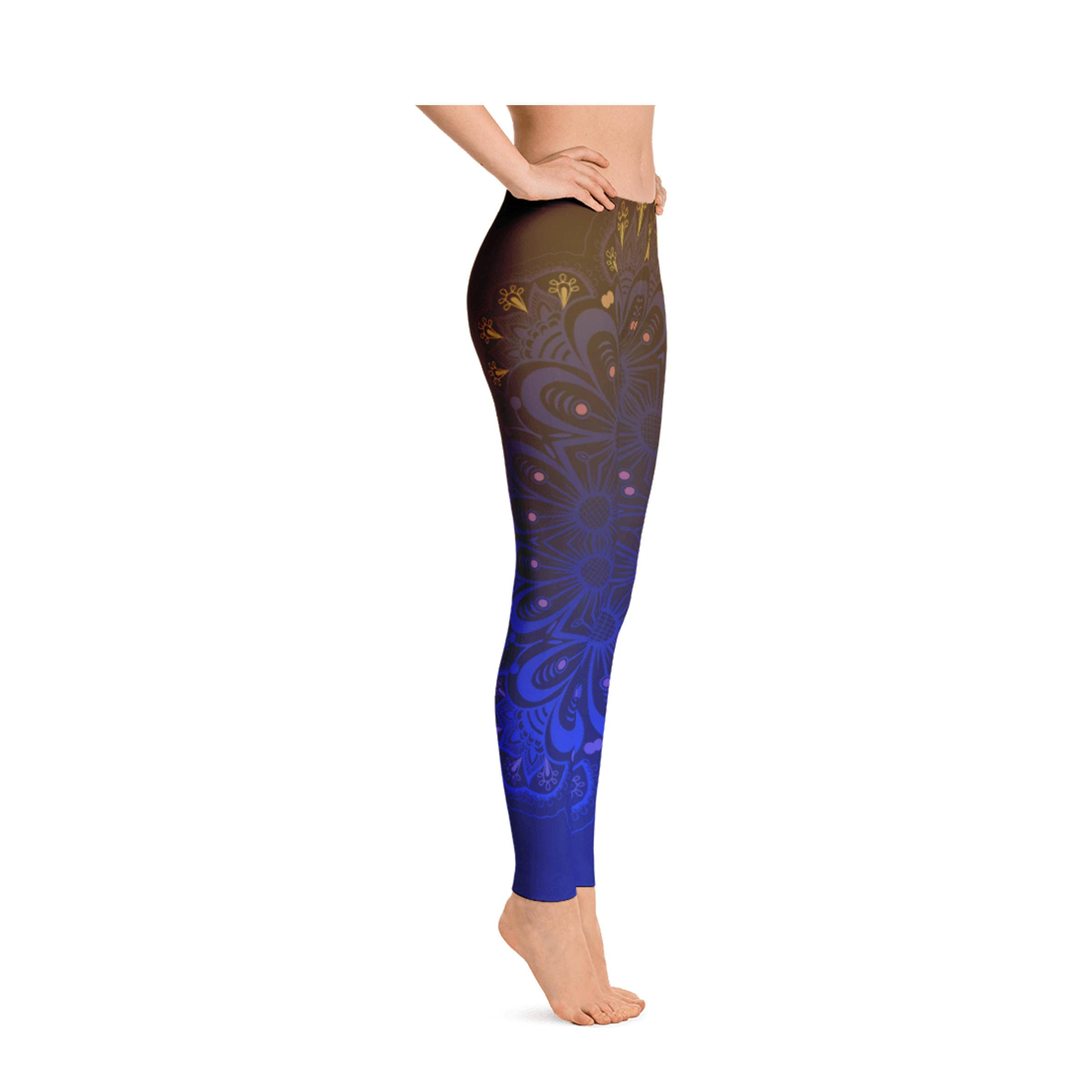 57a6ff4620 Womens Leggings, Boho Ombre Mandala Print Leggings, Exercise Yoga ...