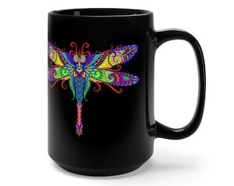15oz Black Ceramic Mug, Boho Bohemian Dragonfly Novelty Mug, Novelty Drink Mug, Animal Hippie Coffee Mug, Boho Ceramic Mug, Gift For Her Him