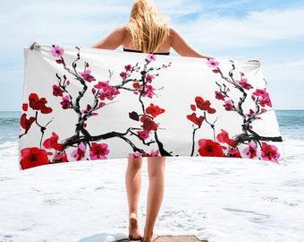 Large Beach Towel, 30 x 60 Inch Towel, Bath Towel, Japanese Floral Towel, Custom Print Towel, Asian Art Designer Towel, Premium Towel