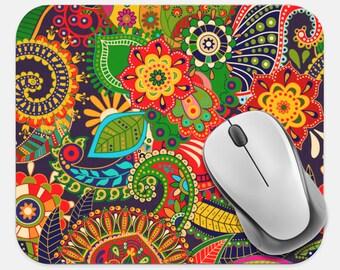 Batik Mouse Pad, Boho Bohemian Mouse Pad, Computer Accessories, Tech Desk Supplies, Boho Bohemian Hippie Mouse Pad, Neoprene Mouse Pad