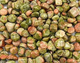 Bulk 1lb Mini 5-10mm Unakite Jasper Gemstone Chips, Small Polished Chips, Undrilled Gem Chips, Mini Unakite Gravel Chips Crystal Stones