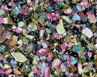 Bulk 1lb Tiny 2-4mm Mulit Colored Tourmaline Gemstone Chips, Mini Crystal Polished Chips, Undrilled Tourmaline Gravel Inlay Chips Crystals