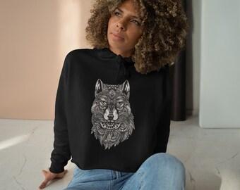 Womens Crop Fleece Hoodie, Tribal Wolf Animal Boho Bohemian Crop Top Hoodie, XS-L Size, Crop Sweatshirt, Womens Sweatshirt Crop Pullover