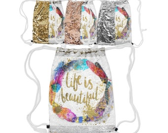 """Sequin Reversible Drawstring Backpack, Boho Bohemian Feather Backpack, 12.5"""" x 16.5"""" Drawstring Bag, Lined Lining Carry Bag, Gold Silver"""
