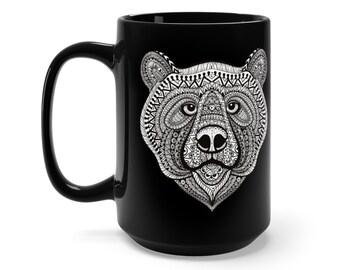 15oz Black Ceramic Mug, Boho Bohemian Bear Wildlife Novelty Mug, Novelty Drink Mug, Animal Coffee Mug, Boho Black Mug Gift For Her Him