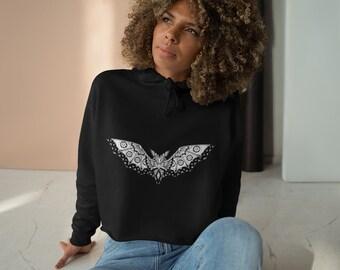 Womens Crop Fleece Hoodie, Bat Animal Boho Bohemian Crop Top Hoodie, XS-L Size, Crop Sweatshirt, Womens Sweatshirt Crop Pullover