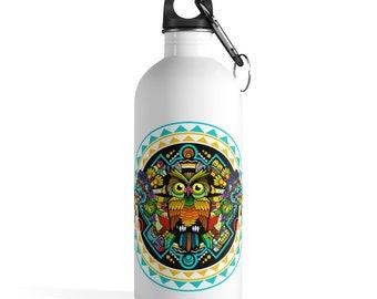 Boho Owl Bird Stainless Steel Water Bottle, Reusable 14oz Steel Water Bottle, Workout Water Bottle, Sports Bottle, Tribal Hippie Tumbler