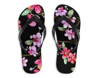 Unisex Flipflops, Floral Flowers Print Sandals, Wildflowers Summer Beach Flip Flops, Beach Shoes, Boho Flip Flop Shoes Footwear Accessories