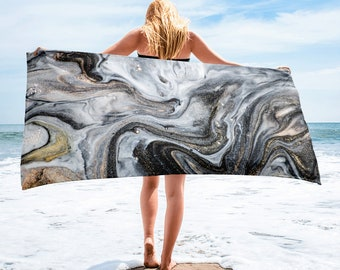 Large Beach Towel, 30 x 60 Inch Towel, Bath Towel, Marble Boho Towel, Custom Print Towel, Floral Art Designer Towel, Premium Towel