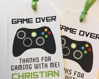 12 video game favor tags,  Birthday Party Favor Tags