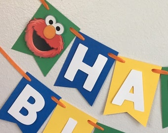 Sesame Street Banner, Sesame Street Birthday Party, Elmo and Cookie Monster Banner, First Birthday Banner