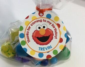 Elmo Favor Tags, Thank You Tags, Treat Tags, Party Favors, sesame street, sesame street Favor Tags, Party Favor tags