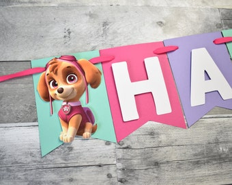 Paw Patrol Birthday Banner Sky And Everest Party Girl