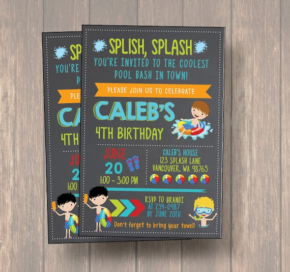 Pool Bash Birthday Party Invitation Boy Invite