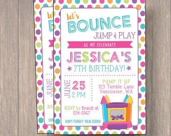 Jump invitation, Bounce house invitation, Trampoline birthday invitation, Pump It Up Party, Girl Birthday Invitation, Birthday Invitation