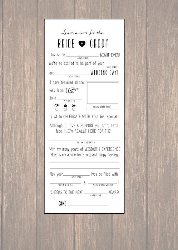 Wedding Advice Card Wedding Mad Libs Diy Printable Marriage Etsy