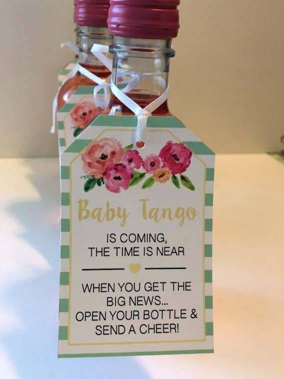 Baby Shower Favor Tags For Mini Wine Bottles Wine Bottle Tags Personalized Wedding Wine Bottle Favors Black Floral Set Of 12